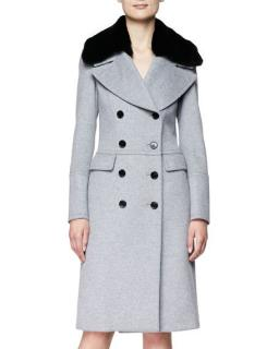 Burberry Grey Wool and Cashmere Coat with Rabbit Fur Collar
