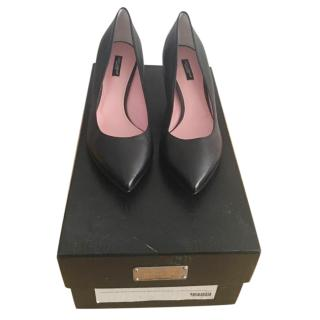 Dolce & Gabbana kitten heel black leather pumps
