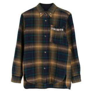 Isabel Marant Green Plaid Embellished Shirt