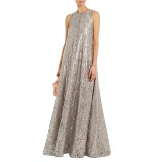 Emilia Wickstead sleeveless silver lace gown