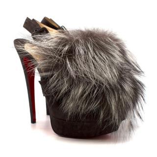 Christian Louboutin Grey Fox Fur Splash Slingback Heels
