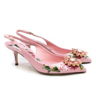 Dolce & Gabbana crystal-embellished pink floral pumps