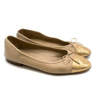 Chanel Nude & Gold Cap Toe Ballet Flats