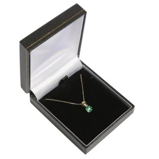 Bespoke emerald & diamond 9ct yellow gold pendant necklace