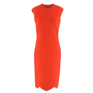Alexander McQueen Red Jacquard Knit Fitted Dress