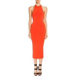 Balmain orange lace-up halterneck midi dress