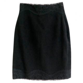 Rochas Black Poodle Wool & Lace Skirt