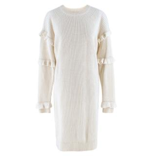 Michael Michael Kors ruffle-sleeve ribbed sweater dress