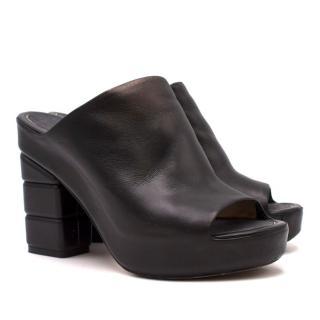 Salvatore Ferragamo black block-heel leather mules