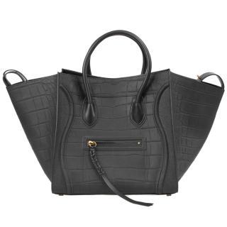 Celine Black Croc Medium Phantom Bag
