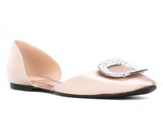 Roger Vivier Pink Chips Strass Silk Ballerinas