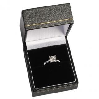 Bespoke 1.10ct Princess Cut Diamond Solitaire White Gold Ring
