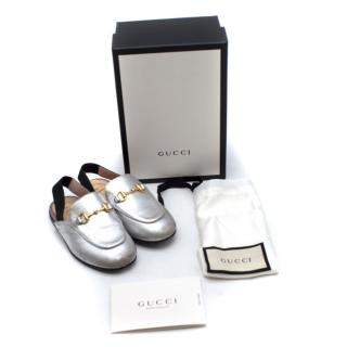 Gucci Girl's Princetown Silver Loafers