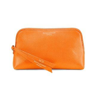 Aspinal Essential orange lizard leather make up bag