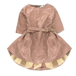 Marie Chantal Rose Gold Girl's Bow Dress