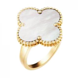 Van Cleef & Arpels White Mother Of Pearl Magic Alhambra Ring