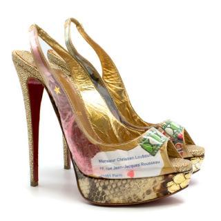 Christian Louboutin Lady Peep decoupage slingback Sandals