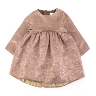 Marie Chantal Rose Gold Girl's Bow Dress
