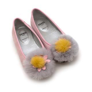 Fendi Pink Suede Rabbit Fur Flats