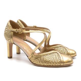 Salvatore Ferragamo Gold Woven Leather Heels