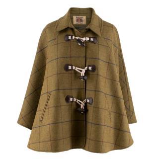 Bespoke point-collar wool-tweed cape
