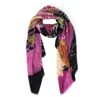 Bespoke Pink and Black Floral Print Scarf