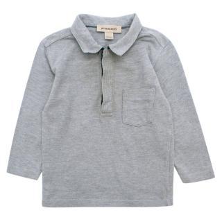 Burberry boys 12 month long-sleeved cotton-pique polo shirt