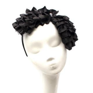 Cherry Chau black ruffle-satin headband