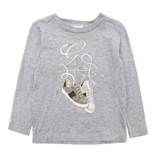 Gucci Grey Trainer Print Top