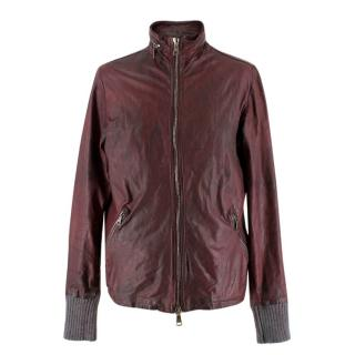Giorgio Brato men's burgundy distressed leather jacket