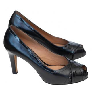 Fratelli Rossetti black patent trim pumps