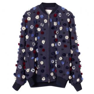 Phillip Lim 3.1 Blue Dandelion Appliqued Bomber Jacket
