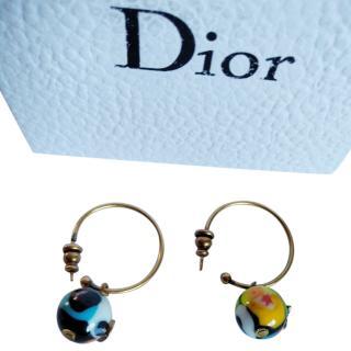 Christian Dior Marble Hoop Earrings