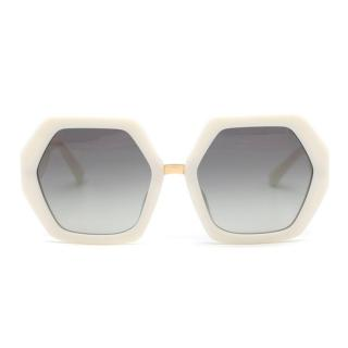 Valentino hexagon-frame acetate sunglasses
