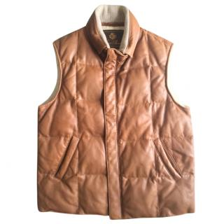 Loro Piana Brown Leather Padded Gilet