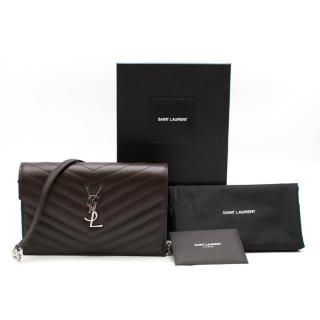 Saint Laurent Brown Matelasse Envelope Chain Wallet