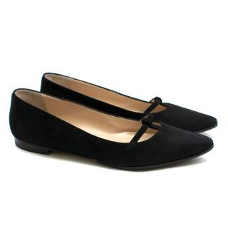 Manolo Blahnik point-toe black suede flat pumps
