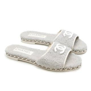 Chanel French terry-towelling grey slides
