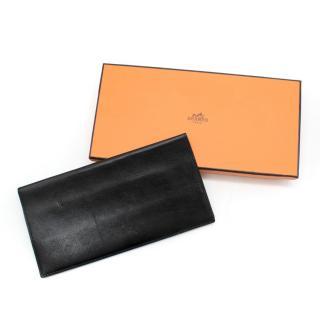Hermes black leather bi-fold travel wallet