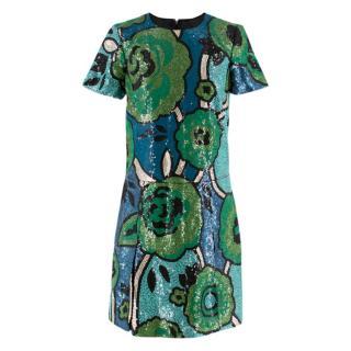 Burberry Runway green sequin-embellished shift dress