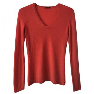 Loro Piana orange cashmere v-neck sweater