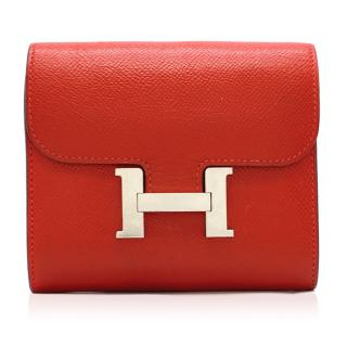 Hermes Constance Compact Rouge Epsom Leather Wallet