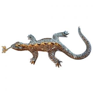 Alexis Bittar Gold Tone Crystal Encrusted Lizard Brooch