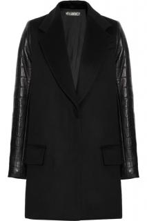 The Row Quilted Leather-Sleeved Wool Coat