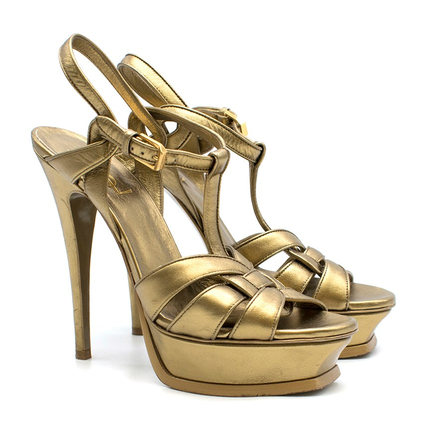 Saint Laurent Tribute gold leather platform sandals