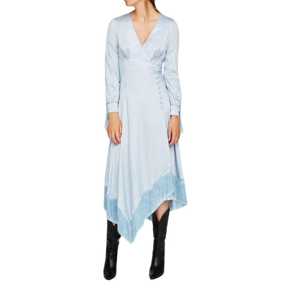 a6a04f72426 Uterque Fringed Blue Wrap Dress