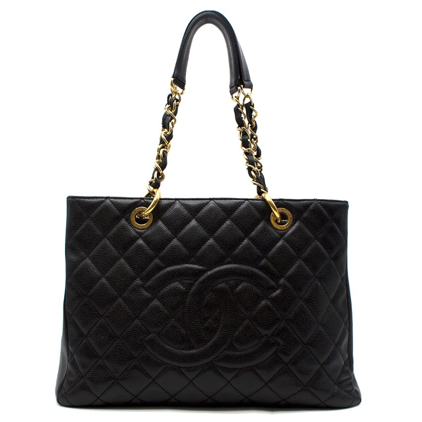 Chanel CC black quilted caviar-leather grand shopping tote