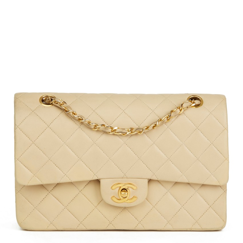 9ace4dec7d Chanel Beige Quilted Lambskin Vintage Classic Double Flap Bag | HEWI London