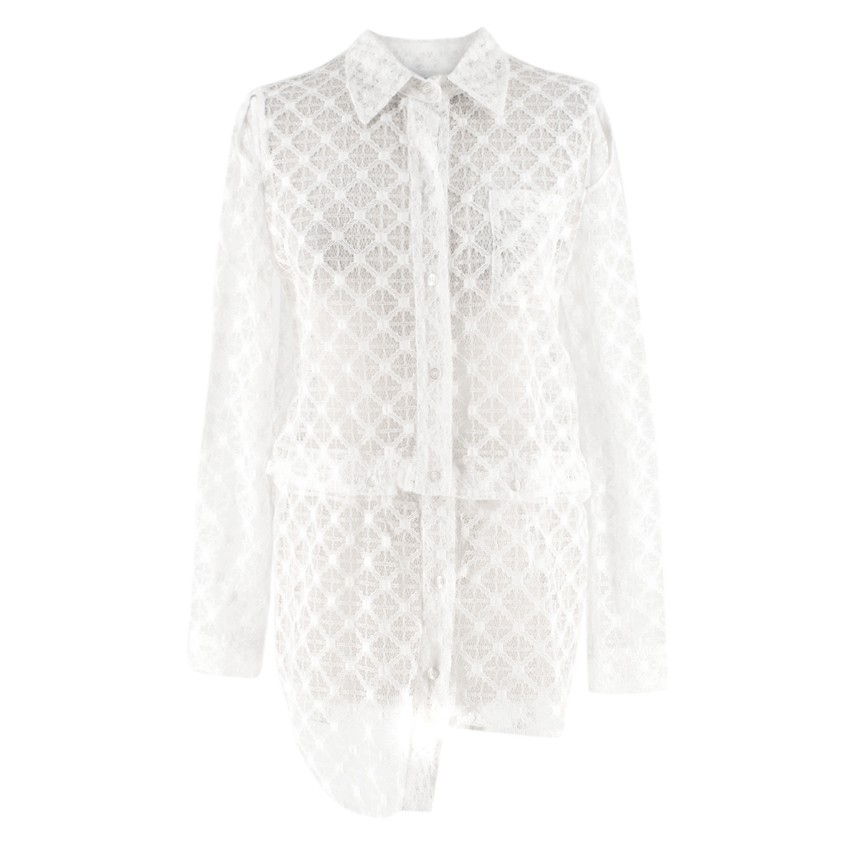Milly White Sheer Lace Shirt