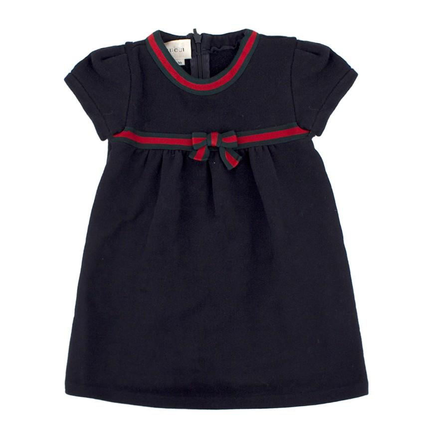 Gucci Girls Navy Jersey Bow Dress